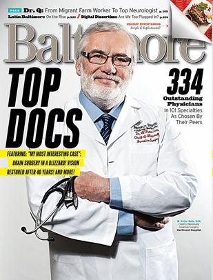 Congratulations to Dr. Kevin Crutchfield, Dr. Neal Naff, Dr. Ross Sugar, Dr. Howard Weiss, and Dr. Michael Williams for their selection as Baltimore's Top Docs!