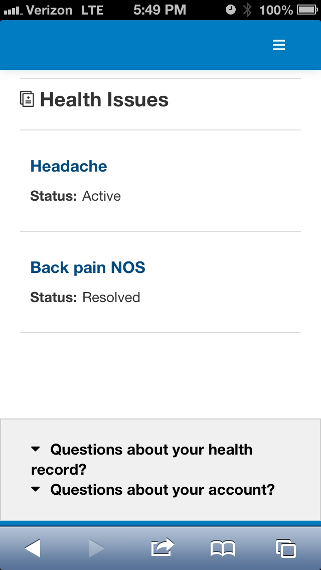 Health Issues List