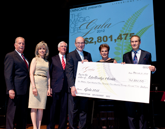 (L to R) Bob Footlick, Stephanie Attman, Ben Schapiro, Warren Green, Ronnie Footlick and Ron Attman with the Gala proceeds check for $2,801,475