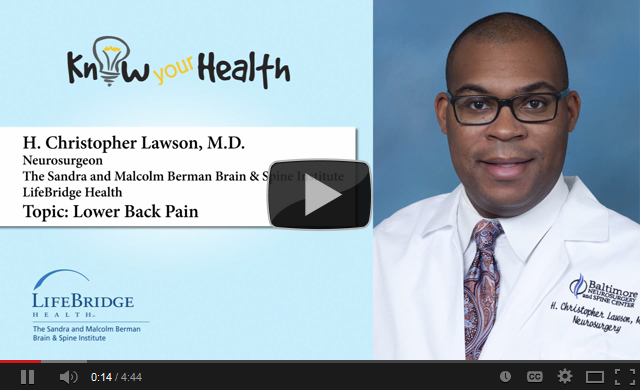 H. Christopher Lawson, M.D., Discusses Lower Back Pain