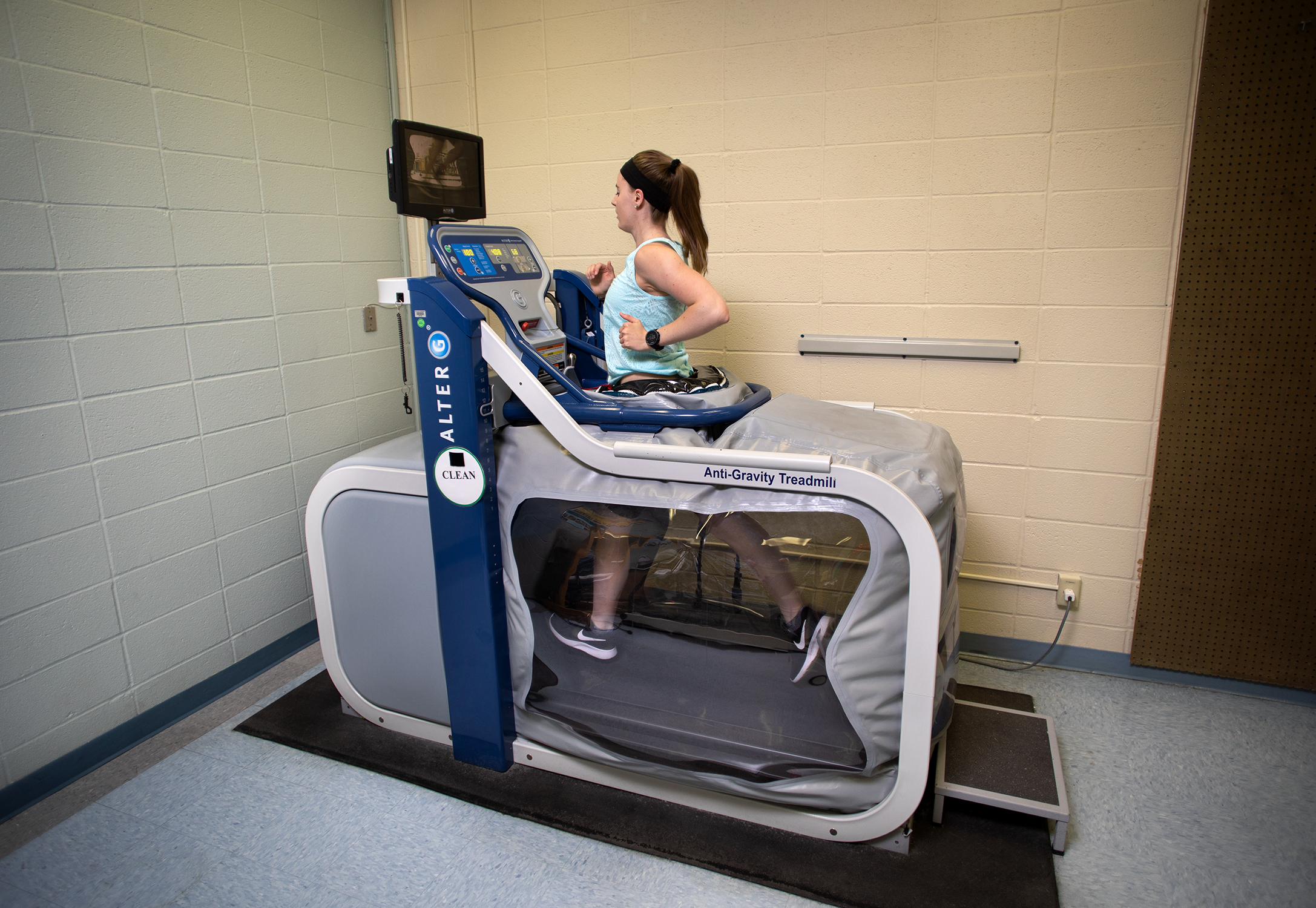person in AlterG treatmill