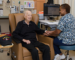 Northwest Hospital Infusion Center nurse with patient