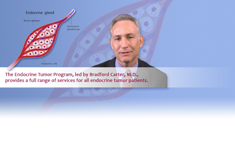 The Endocrine Tumor Program, led by Bradford Carter, M.D., provides a full range of services for all endocrine tumor patients.