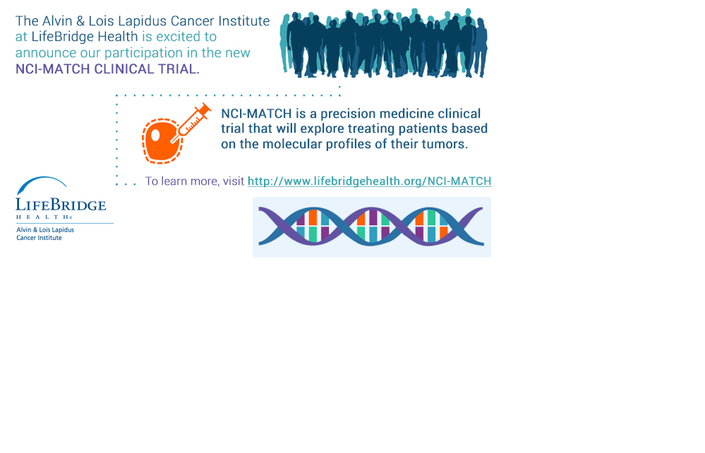 The Alvin & Lois Lapidus Cancer Institute at LifeBridge Health is excited to announce our participation in the New NCI-MATCH Trial. NCI- MATCH is a precision medicine clinical trial that will explore treating patients based on the molecular profiles of their tumors