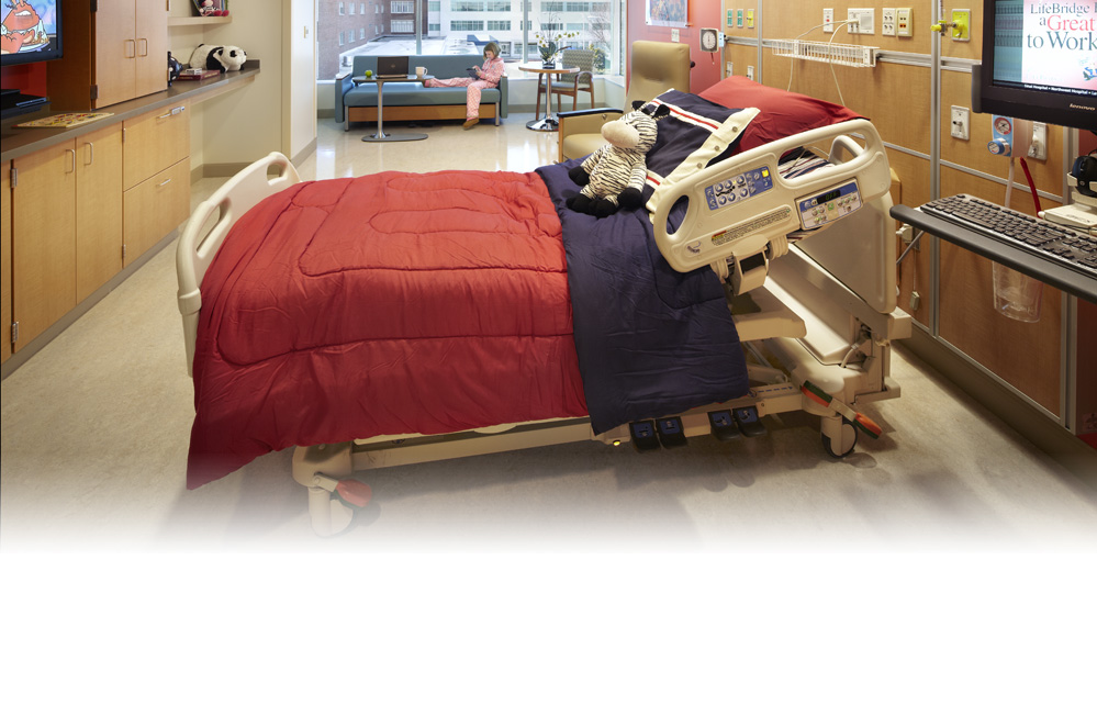 A patient's room at the Herman & Walter Samuelson Children's Hospital at Sinai