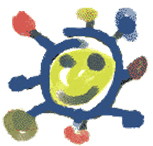 Children's drawing of a smiling sun