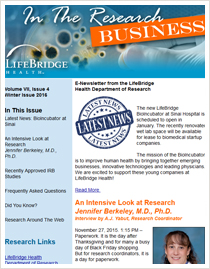 LifeBridge Health Research Newsletter 2015