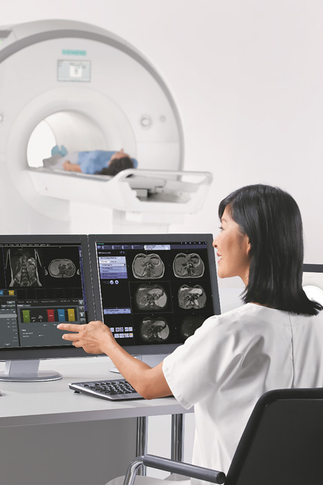 Radiologist reviewing images