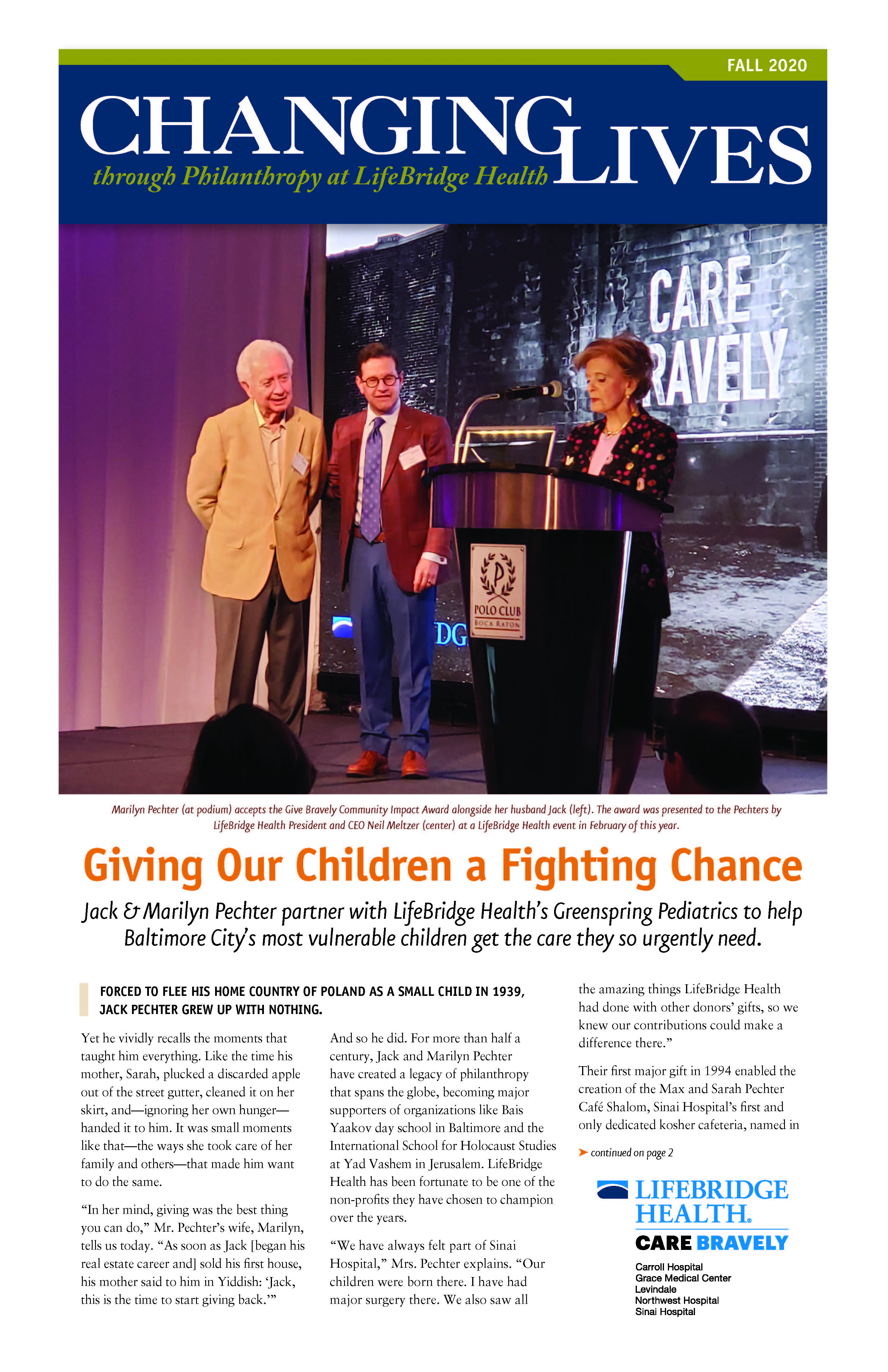 Changing Live Fall 2020 LifeBridge Health Newsletter