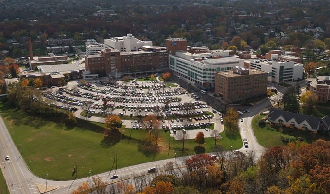 Aerial view of Sinai Hospital parking lot