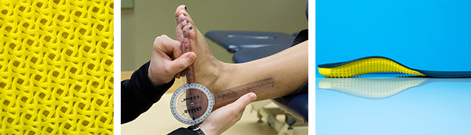 A collage of a foot orthotic and a foot being measured with a goniometer