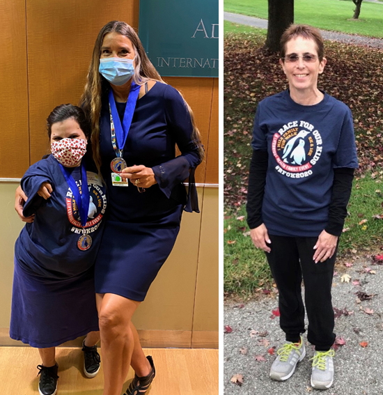 Marilyn Richardson with a patient of the International Center for Limb Lengthening wearing their 2020 Race for Our Kids shirts and medals