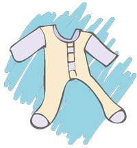 Drawing of a baby outfit
