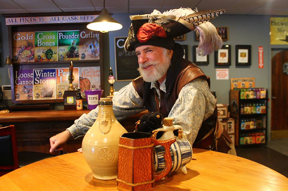 Cliff Long as his Captain Thomas Flint pirate character for a Heavy Seas Beer brewery tour